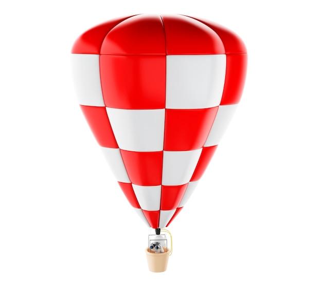 Povos 3d brancos no ballon do ar quente com binóculos.