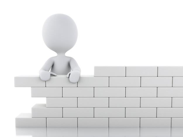 Povos 3d brancos que constroem uma parede de tijolo.