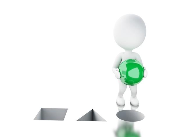Povos 3d brancos que põem a esfera verde no furo direito.