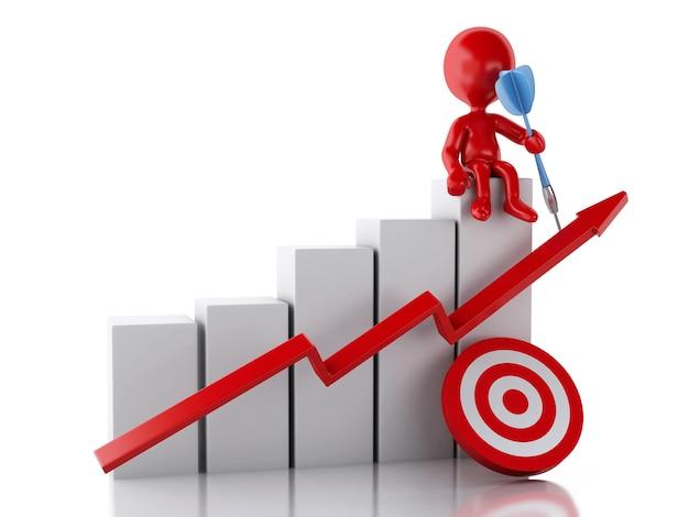 Povos 3d vermelhos com gráfico da estatística de negócio e alvo vermelho.