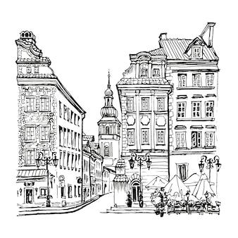 Praça do castelo, rua piwna e torre sineira da igreja de st. martin na parte da manhã, cidade velha de varsóvia, polônia. forro feito de imagem