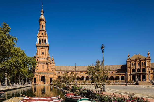 Praça monumental da espanha. localizado na cidade de sevilha.
