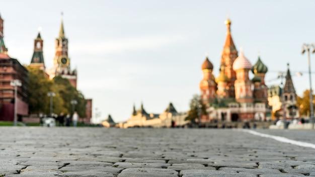 Praça vermelha, vista das pedras de pavimentação. moscou, rússia.