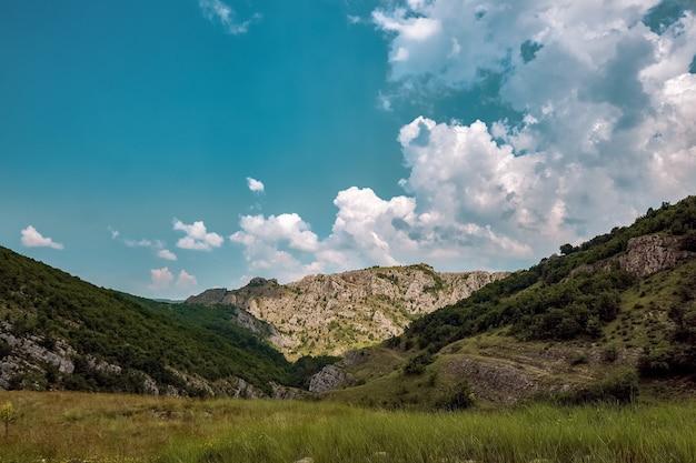 Prado cercado por colinas cobertas de arbustos e árvores sob o céu nublado e a luz do sol