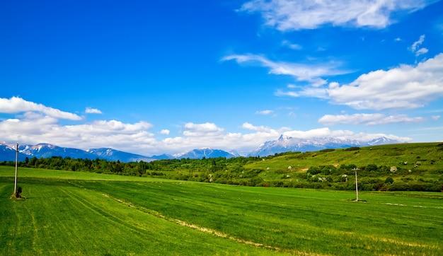 Prado verde e montanhas ao fundo na eslováquia