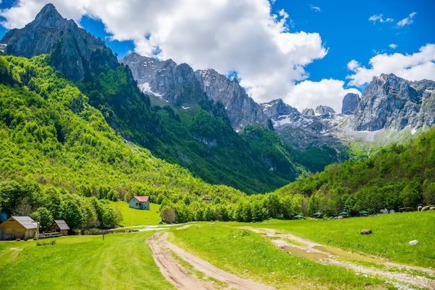 Prados verdes pitorescos perto das grandes montanhas altas.