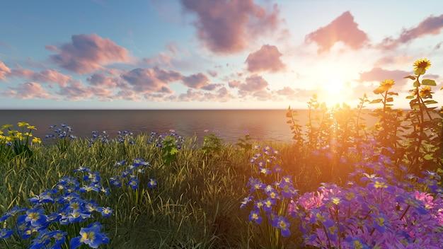 Praia ao pôr do sol com plantas
