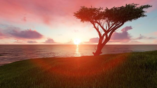 Praia ao pôr do sol com uma árvore