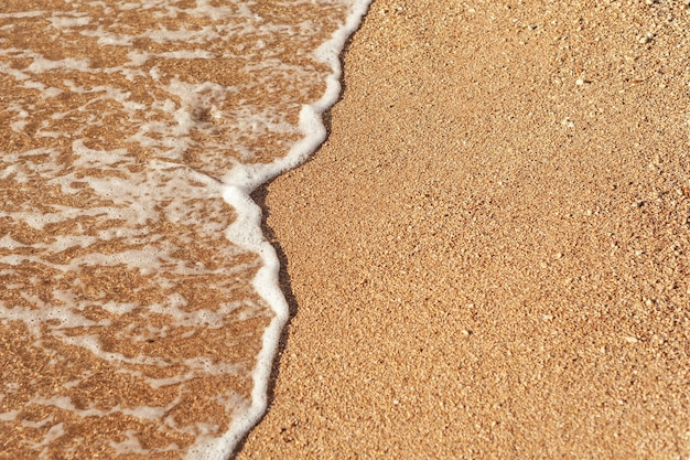 Praia areia costa do mar com ondas e fundo de verão espumoso branco, vista superior aérea da praia à beira-mar. Foto Premium