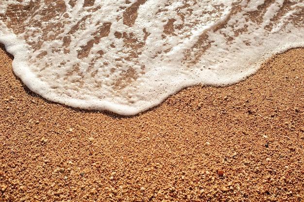 Praia areia costa do mar com ondas e fundo de verão espumoso branco, vista superior aérea da praia à beira-mar.
