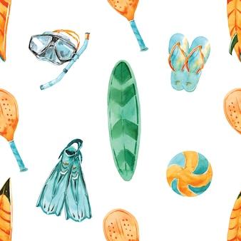 Praia atividades aquarela sem costura padrão. paraíso tropical de verão. férias à beira-mar. equipamento de esporte de verão. surf camp