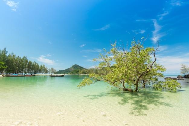 Praia branca da areia e barco da longo-cauda na ilha de kham-tok (koh-kam-tok), a província bonita de ranong do mar, tailândia.