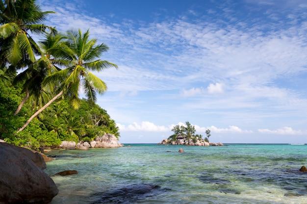 Praia com água azul e céu azul e algumas pedras