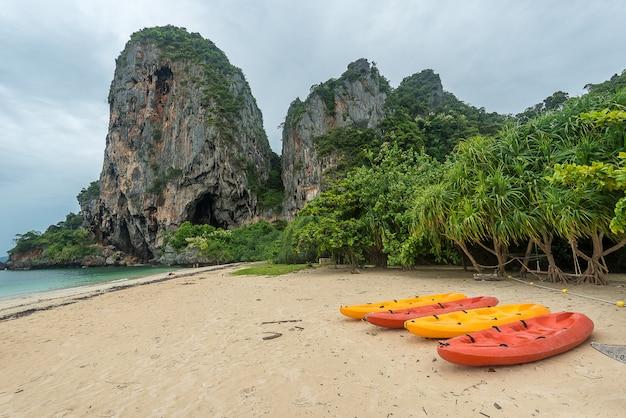 Praia com montanhas rochosas e selva