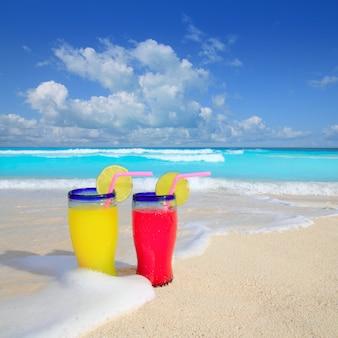 Praia, coquetéis, amarela, onda vermelha, espuma, mar tropical