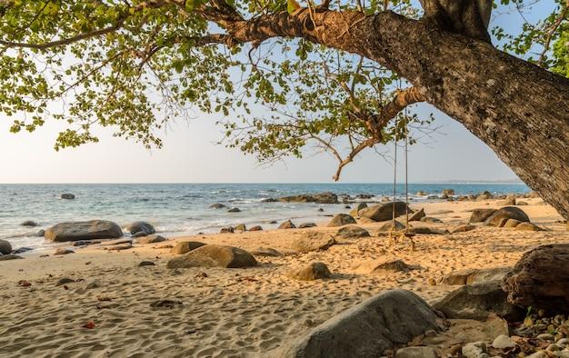 Praia da rocha com balanço de madeira na tailândia