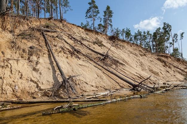 Praia de areia com padrões de riachos de água a textura da areia