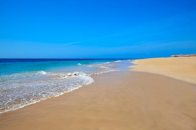 Praia de morro jable matorral jandia em fuerteventura