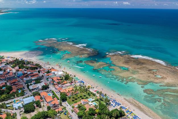 Praia de porto de galinhas ipojuca perto de recife pernambuco brasil vista aérea