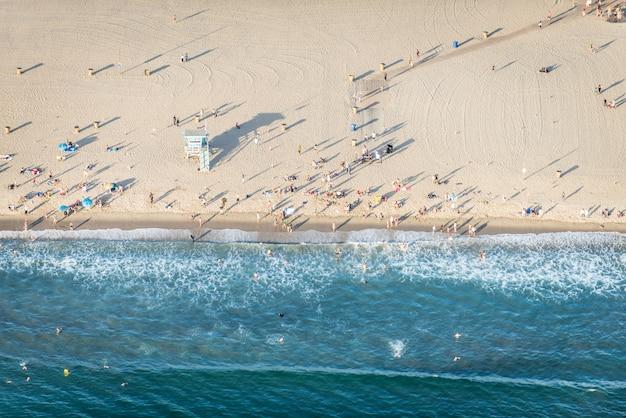 Praia de santa monica, vista de helicóptero