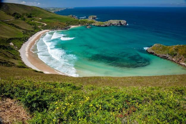 Praia, de, torimbia, perto, llanes, vila, asturias, espanha