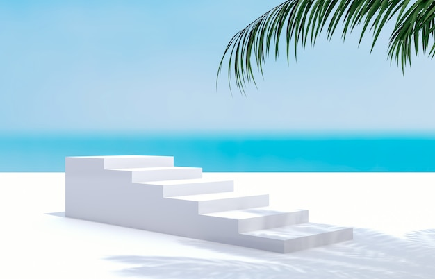 Praia de verão com palmeira para exposição do produto