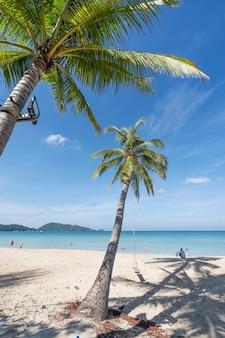 Praia de verão com palmeiras ao redor na praia de patong, ilha de phuket, tailândia, bela praia tropical com fundo de céu azul na temporada de verão.