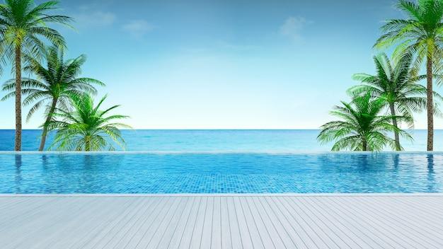 Praia de verão relaxante, deck para banhos de sol e piscina privativa com palmeiras perto da praia e vista panorâmica do mar em casa de luxo / renderização em 3d