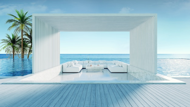 Praia de verão relaxante, deck para banhos de sol e piscina privativa