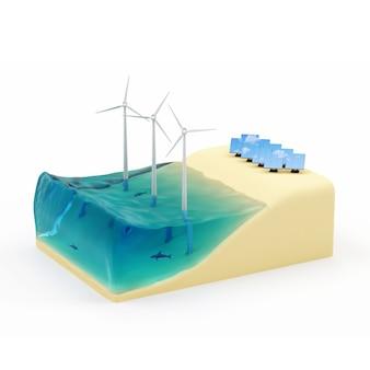Praia em miniatura com moinhos de vento e painéis solares