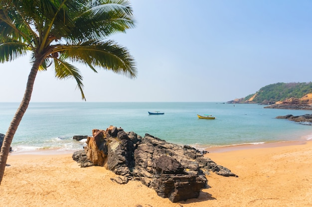 Praia paradisíaca em gokarna, índia. bela paisagem deserta com areia limpa e ondas. vista do mar para a costa.