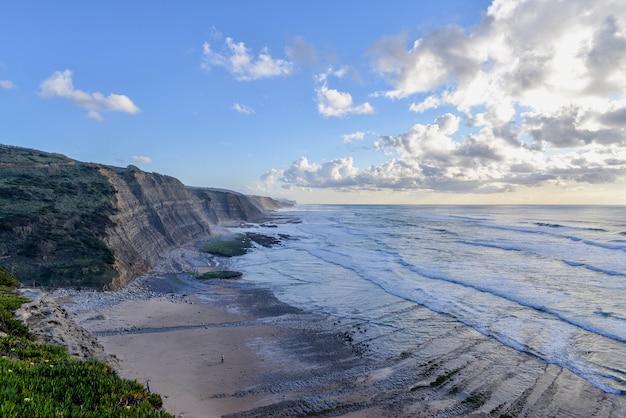 Praia rodeada de pedras e o mar sob céu nublado durante o nascer do sol