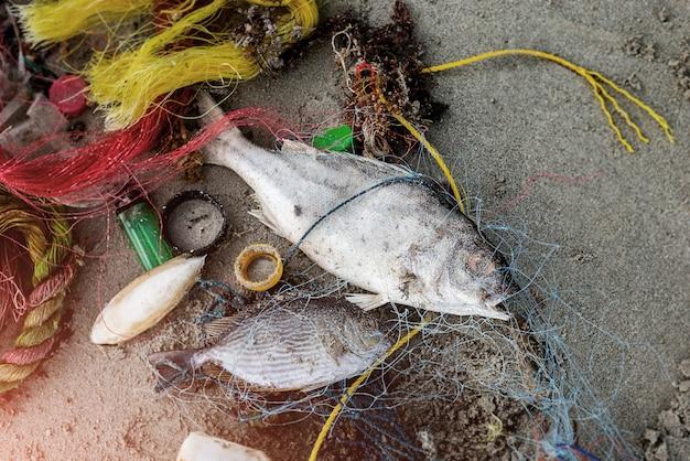 Praia suja do ambiente problemático do lixo plástico.