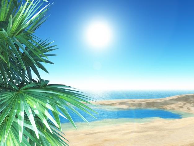 Praia tropical 3d com palmeiras