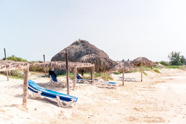 Praia tropical idílica com areia branca, água do mar azul-turquesa e grandes palmeiras