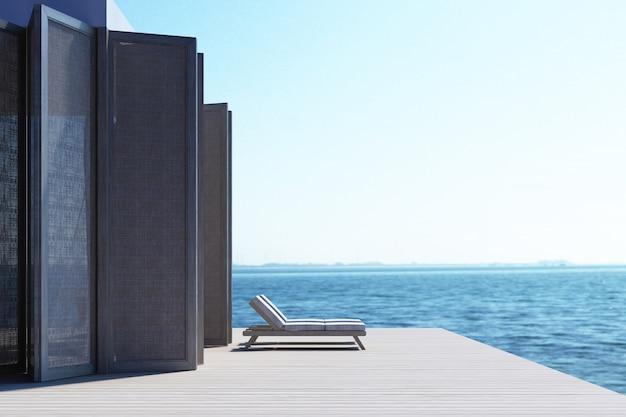 Praia vivendo na renderização em 3d vista para o mar