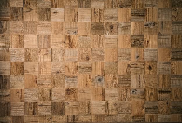 Prancha de madeira decorativa quadrada. teste padrão de madeira texturizado. mosaico de cubos de madeira
