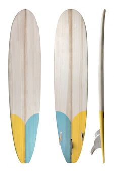 Prancha de madeira longboard retrô isolada no branco com traçado de recorte para objeto, estilos vintage.