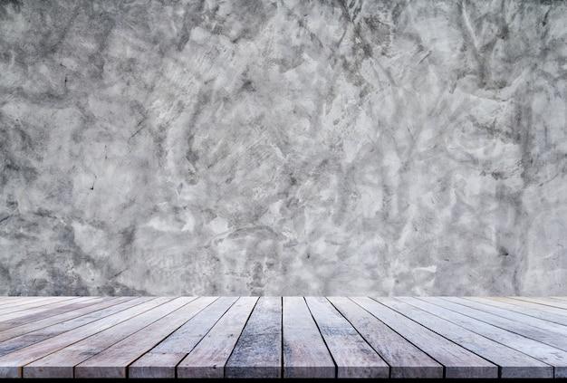 Prancha de madeira velha ou piso de madeira com cimento uso de fundo de textura de parede para exposição do produto
