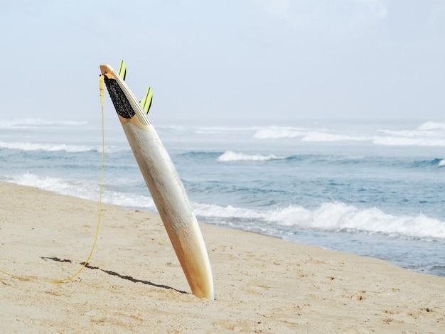 Prancha de surf com trela na areia com oceano