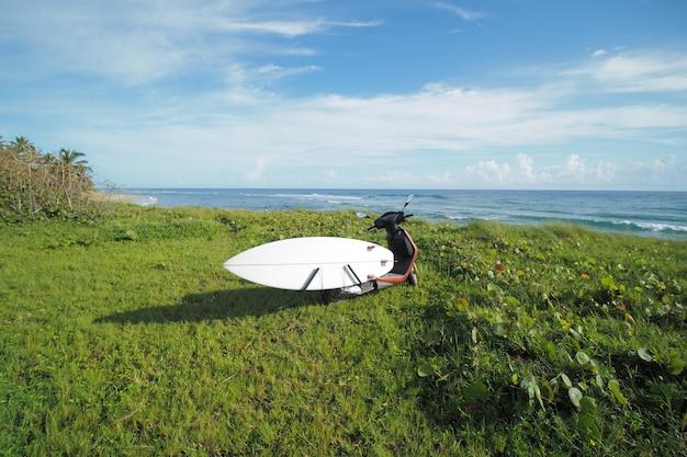 Prancha de surf na scooter ciclomotor ao lado do oceano na grama verde.
