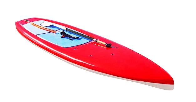 Prancha de surf para paddleboarding isolada em superfície branca