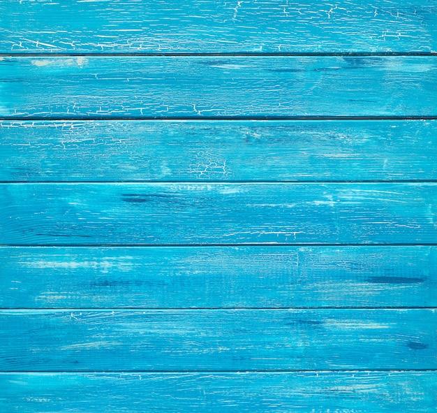 Pranchas de madeira rústicas azuis, vista superior com cópia-espaço