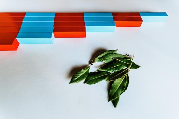 Pranchas de madeira vermelha e azul montessori para facilitar a criança com clareza visual, operações de cálculo.