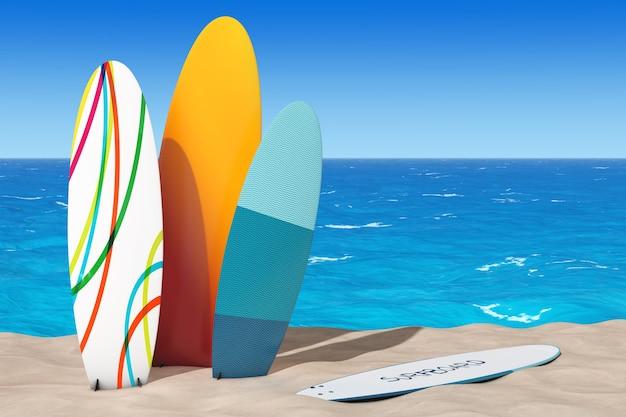 Pranchas de surf de verão coloridas na areia sunny beach closeup extrema. renderização 3d