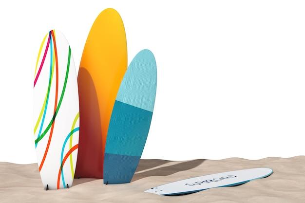 Pranchas de surf de verão coloridas na areia sunny beach em um fundo branco. renderização 3d