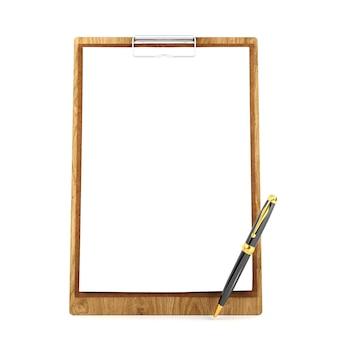 Prancheta de madeira com papel em branco e caneta