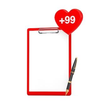 Prancheta de papel e caneta com etiqueta de coração de pedido, desejo ou lista de compras em um fundo branco. renderização 3d