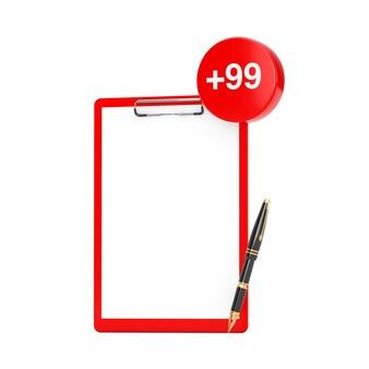 Prancheta de papel e caneta com etiqueta de pedido, desejo ou lista de compras em um fundo branco. renderização 3d