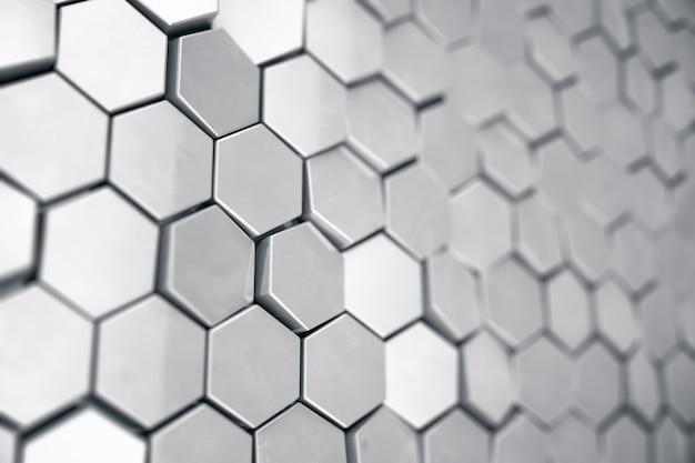 Prata fundo hexagonal abstrato com profundidade de efeito de campo. estrutura de um grande número de hexágonos. textura de aço da parede do favo de mel, fundo brilhante de conjuntos de hexágonos, renderização em 3d